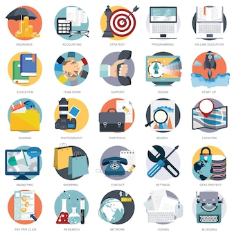 Business technology and finances icon set