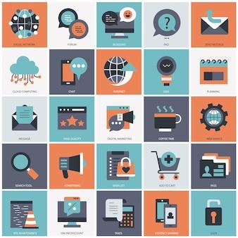 ビジネス テクノロジーとマネジメント セット イラスト