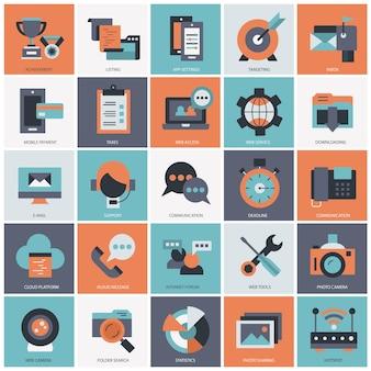 Бизнес-технологии и управление набором иллюстрации Premium векторы