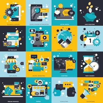 Бизнес-технологии и управление набором иллюстрации