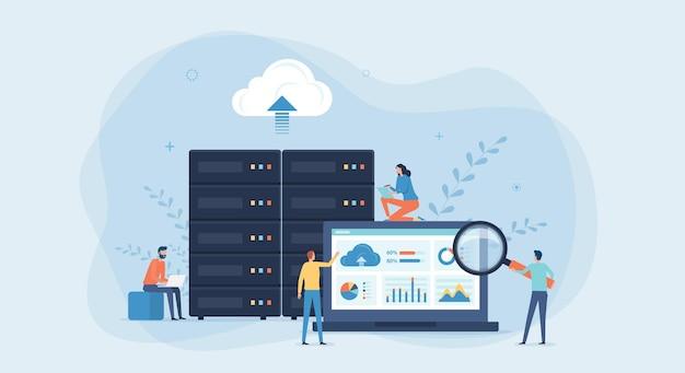 비즈니스 기술 클라우드 컴퓨팅 서비스 및 데이터 센터 스토리지 서버 연결