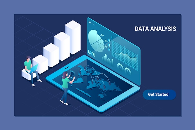 Business technology data analysis isometric concept