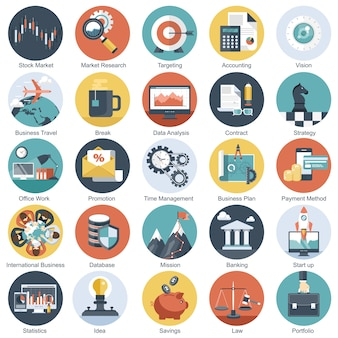 Business technology and finances icons