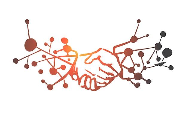 ビジネステクノロジー、手、未来、デジタル、ネットワークの概念。ビジネスコンセプトのスケッチで手描きのイノベーション技術。