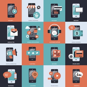 Business technology and management set illustration
