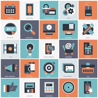 Business and technology set illustration