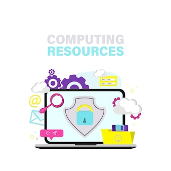 Business technology storage server connect to cloud computing service concept.  flat vector illustration.