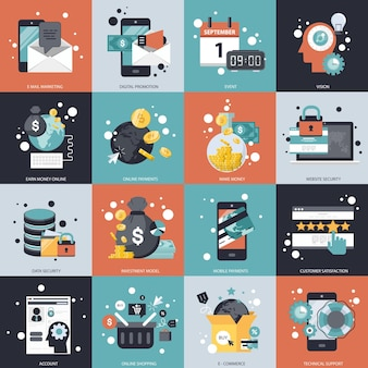 Business and technology vector set