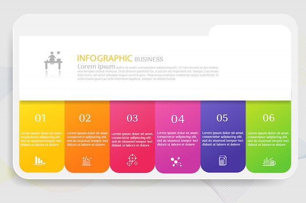 Business template 6 options infographic chart elements