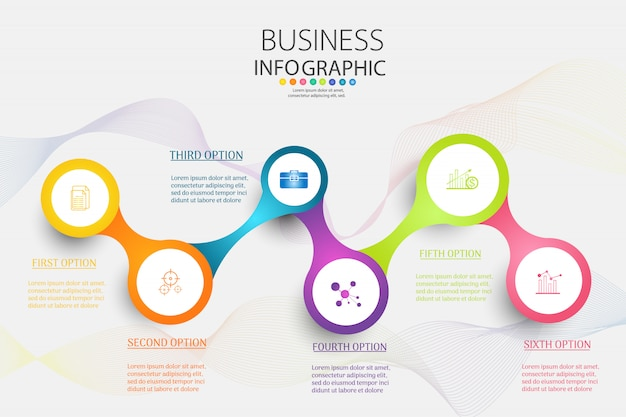 Business template 6 options or steps infographic chart element.
