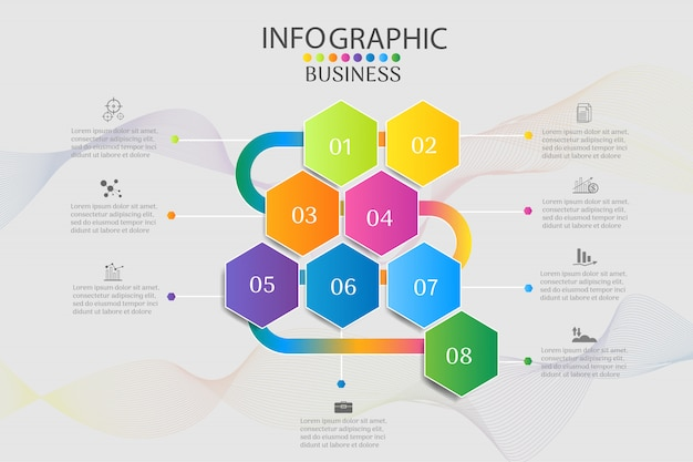 Business template 8 options infographic chart elements