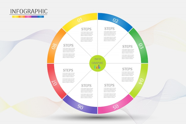 Business template 8 steps infographic chart element.