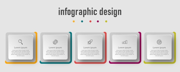 Business template infographic design with 5 options. s