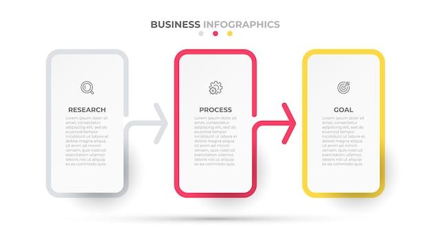3つのオプションまたはステップを備えた矢印タイムラインインフォグラフィックを使用したビジネステンプレートプロセス設計