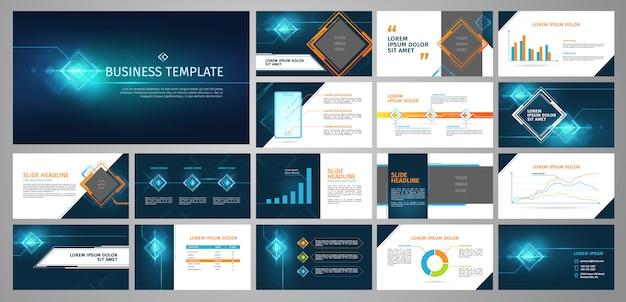 ビジネステンプレートセット。青い抽象的なバナー、インフォグラフィックスによるプレゼンテーション