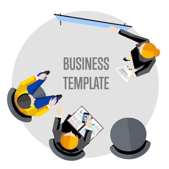 Business template, top view workspace