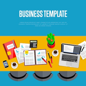 Business template. top view workspace