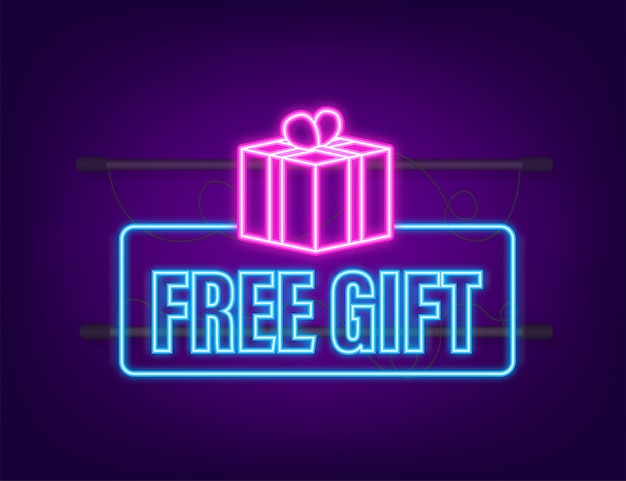 Business template with red free gift for banner design. neon icon. vector business template. present gift box icon.