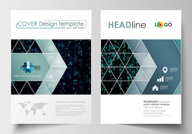 パンフレット、チラシのビジネステンプレート。表紙デザインテンプレート