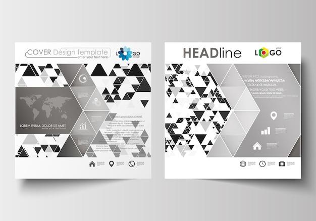 スクエアパンフレット、チラシ、レポート用のビジネステンプレート。抽象的な三角形のバックグラウンド