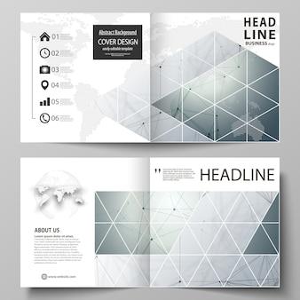正方形デザインの2つ折りパンフレットのビジネステンプレート。遺伝的および化学的化合物原子、dna、ニューロン化学、科学の概念