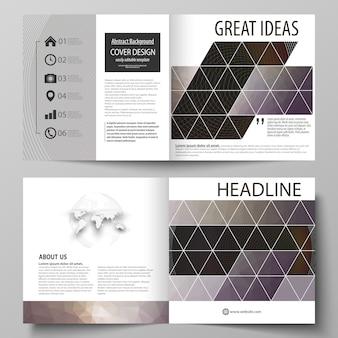 正方形デザインの2つ折りパンフレットのビジネステンプレート