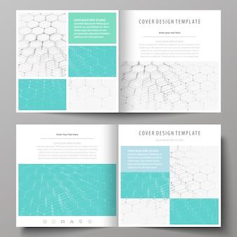 正方形のデザインのビジネステンプレート二つ折りパンフレット
