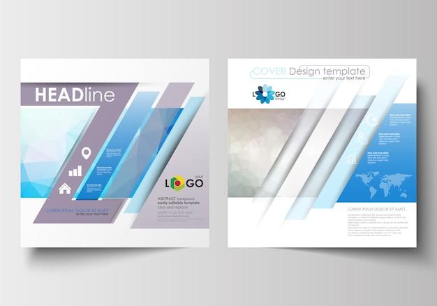 スクエアデザインのパンフレット、チラシ、小冊子用のビジネステンプレート。