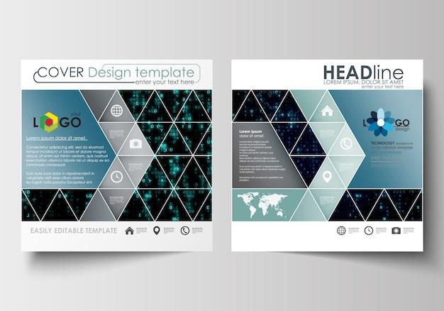正方形デザインのパンフレット、チラシ、小冊子のビジネステンプレート Premiumベクター