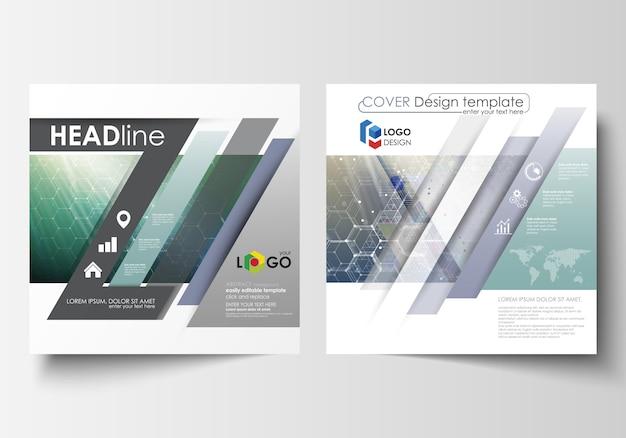 正方形のデザインパンフレット、雑誌、チラシ、小冊子、レポートのビジネステンプレート