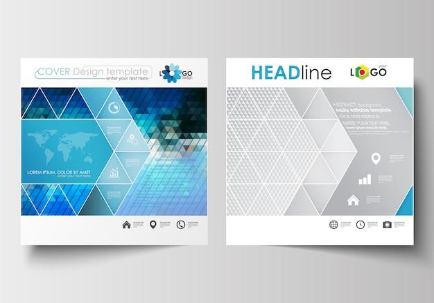 スクエアデザインのパンフレット、雑誌、チラシ、レポート用のビジネステンプレート。