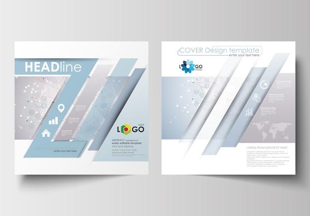 スクエアデザインのパンフレット用ビジネステンプレート