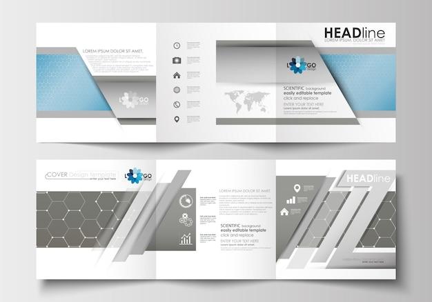 Бизнес-шаблоны для тройных квадратных брошюр.