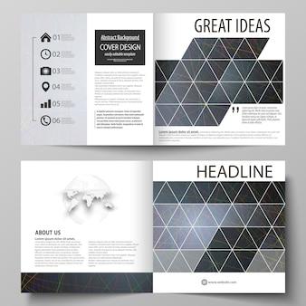 Business templates for square design bi fold brochure