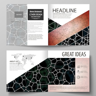 Business templates for square design bi fold brochure