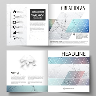 Business templates for square design bifold brochure