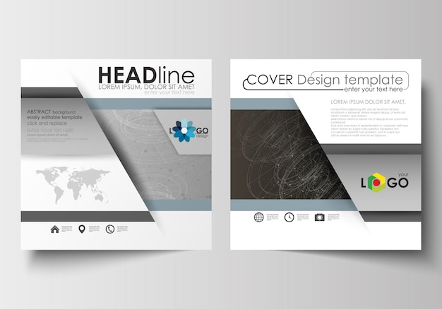 Business templates for square design brochure, flyer. leaflet cover, technology concept.