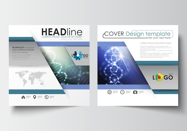 Business templates for square design brochure, magazine, flyer. dna molecule structure