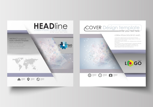 Business templates for square design brochure