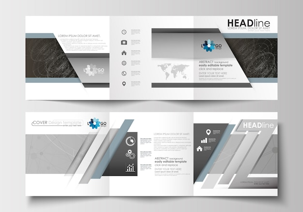 Business templates for tri-fold brochures. abstract scientific technology.