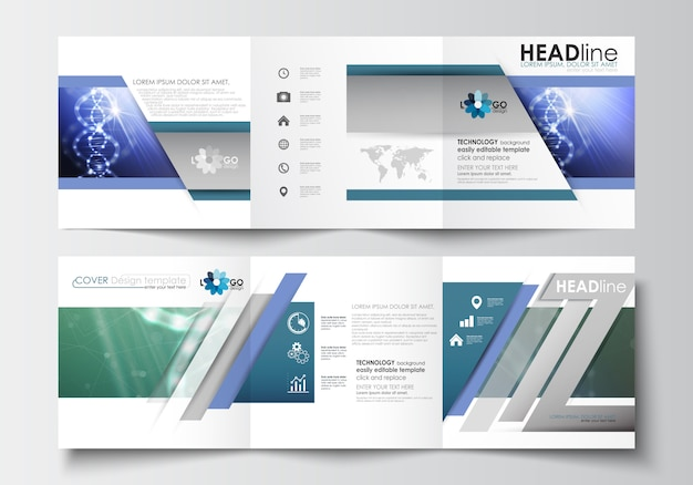 Business templates for tri-fold brochures. dna molecule structure, science background