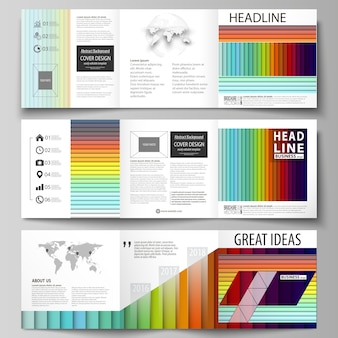 Business templates for tri fold square brochures.