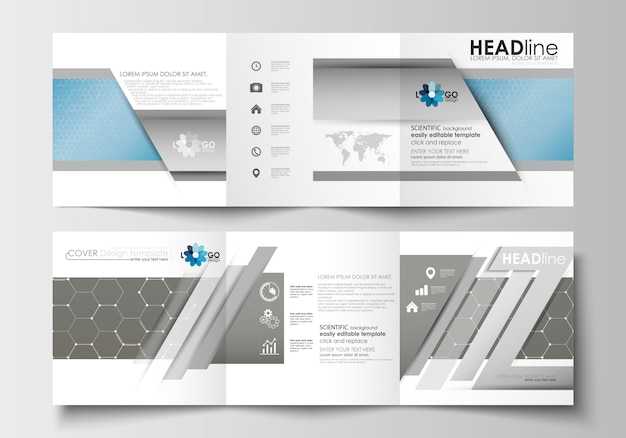 Business templates for tri-fold square brochures.