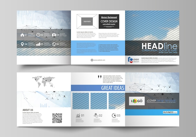 Business templates for tri fold square design brochures.