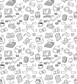 Business themed doodle seamless background
