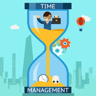 Business time management. businessman sinking in hourglass. finance clock, concept deadline. vector illustration