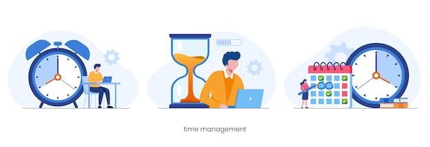 Бизнес-тайм-менеджмент, концепция крайнего срока, планировщик, плоские векторные иллюстрации баннер