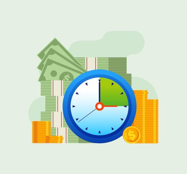 비즈니스 시간 관리 마감 일정 평면 벡터 일러스트 배너 및 방문 페이지