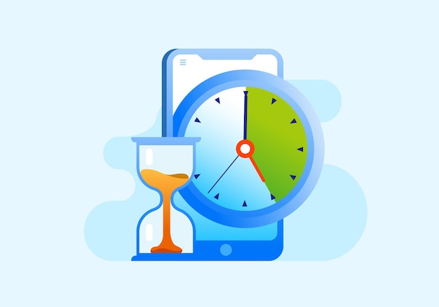 営業時間管理締め切りスケジュールフラットベクトルイラストバナーとランディングページ