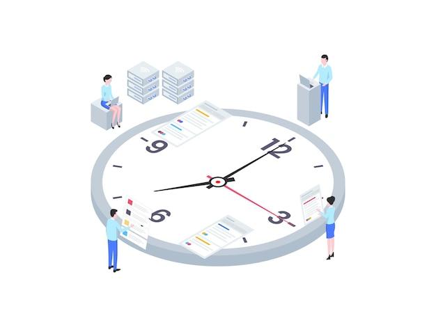 비즈니스 시간 관리 아이소메트릭 그림입니다. 모바일 앱, 웹사이트, 배너, 다이어그램, 인포그래픽 및 기타 그래픽 자산에 적합합니다.